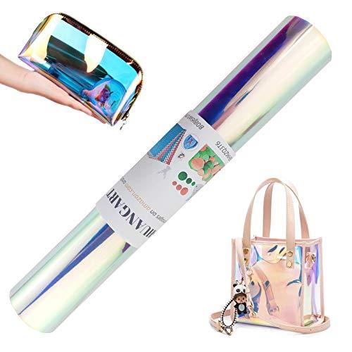 SHUANGART 30 x 137,2 cm transluzente holografische Kunstlederrolle für Taschen, Rucksack, Schuhe, Handtaschen, Geldbörsen, zum Basteln, 0,4 mm dick, PVC-Vinyl