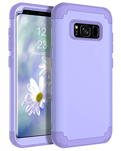 BENTOBEN Case for Galaxy S8 5.8', Heavy Duty Full Body Rugged Shockproof Hybrid Three Layer Hard Plastic Soft Rubber Bumper Protective Phone Cases Cover for Samsung Galaxy S8 5.8', Purple