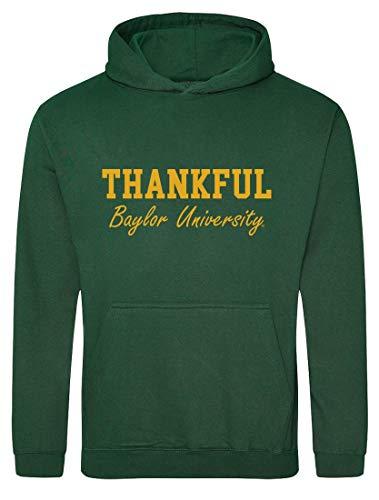 Tstars Moletom feminino Thankful Baylor University Apparel de Ação de Graças, Garrafa verde, L
