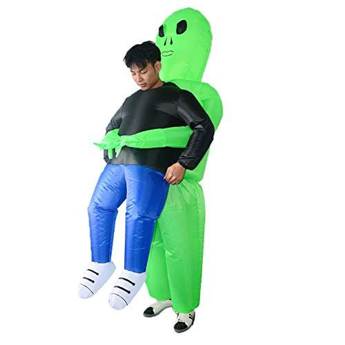SH Alien Disfraz inflable de jinete extranjero inflable, disfraz de Alien de Halloween para disfraz de cosplay para niños adultos