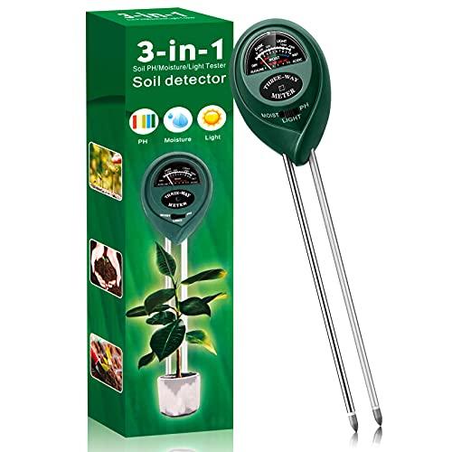 Soil Moisture Meter,3-in-1 Soil Moisture Light pH Tester,Plant Water Meter for Outdoor Indoor, Soil Hygrometer Sensor,Soil Test Kit for Garden, Farm, Plant, Lawn Use