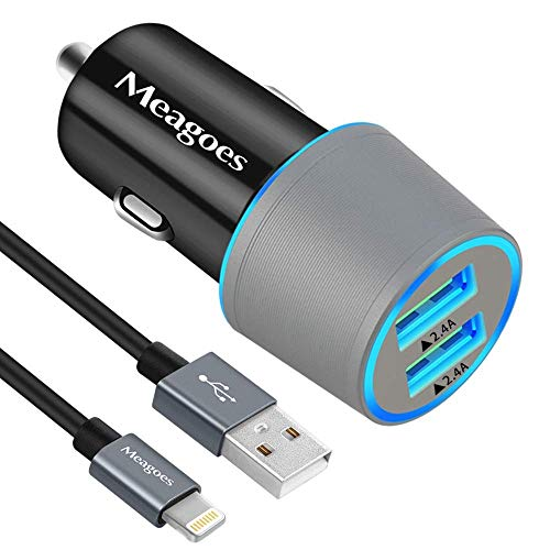 Car Charger, Meagoes 24W/4.8A Dual USB Ports Charging Adapter Compatible for Apple iPhone 12/11/Pro/Max/SE 2020/XS/XR/X/8 Plus/8/7/6S/6, iPad/Air/Mini - 3.3ft MFi Certified USB Lightning Cable Cord