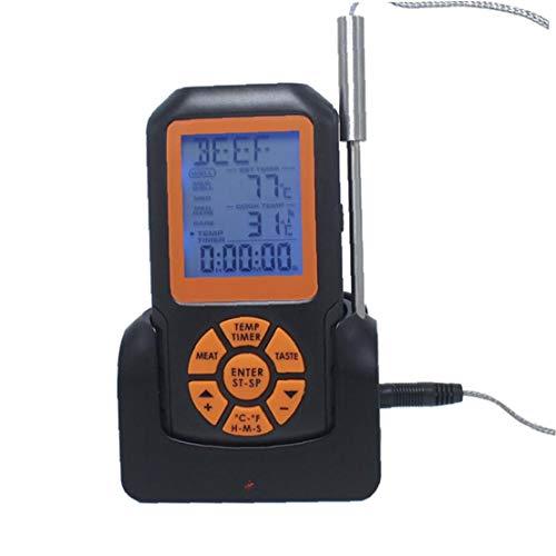 Drahtloses wasserdichtes Digital-Thermometer Grill-Thermometer mit Alarm Timer schnellen und genauen Lesen Proben Großen LCD-Thermometer Perfekt für Grillen Backofen Küche Kocht Schwarz TS-K35