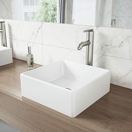 VIGO VG04001 14.5' L -14.5' W -5.0' H Dianthus Handmade Matte Stone Square Vessel Bathroom Sink in...
