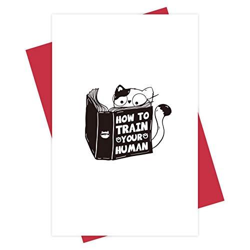 Geburtstagskarte für Katzenbesitzer, Grußkarte für Katzenliebhaber, lustige Valentinstagskarte, Lesekatzenkarte