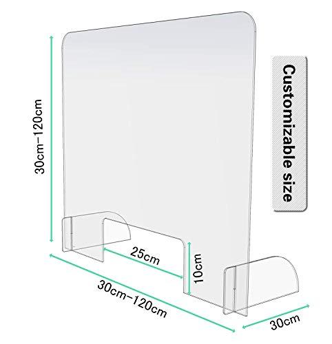 Vitre De Protection En Plexiglas, Séparateur transparent Vitrine De Protection Alimentaire Sur-Vitrine, avec ouverture restaurants 100x100cm