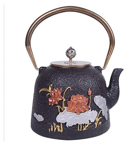 Tetera de cristal de hierro fundido estilo tetera de hierro fundido, tetera de hierro fundido pura, olla de hierro a mano, tetera, patrón de pescado y loto, juego de té de 1,2 l