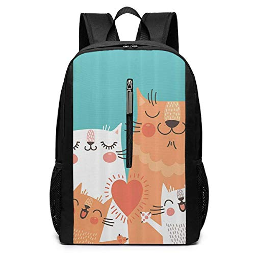 TRFashion Sac à Dos Cute Kitten Couple Sweet Happy Paws Loving Heart Laptop Backpack 17 inches Travel Gym Bag Yoga Bag School Bag Book Bag for Men Women Teenagers
