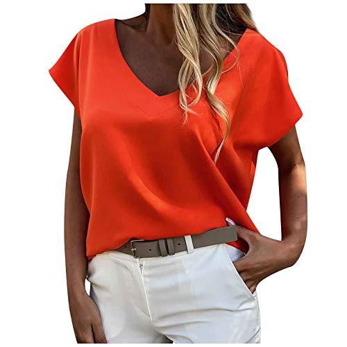 2021 Nuevo Camiseta Mujer Moda Verano Manga Corta Color sólido Blusa Camisa Cómodo Cuello en V Basica Sexy Camiseta Suelto Tops Casual Fiesta T-Shirt Original tee