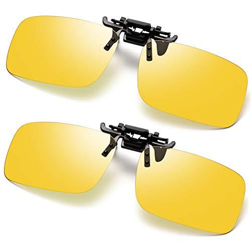 Polarized Clip-on Night Vision Glasses UV400 Night Driving Glasses Clip-on for Prescription Glasses 2 Pack