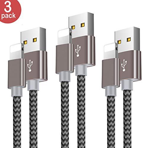 Cable Phone-Zeuste Cargador Phone [3PACK 1.5M] de Nylon Trenzado Cable USB Compatible con Phone XS/XR/X/8/8 Plus/7/6s/6Plus/6/Pad/Pod y más(Gris)