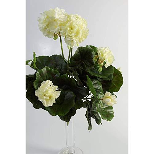 artplants.de Decorativo Geranio MIA en Vara, Blanco, 35cm, Ø 30cm - Geranio sintético - Planta Artificial