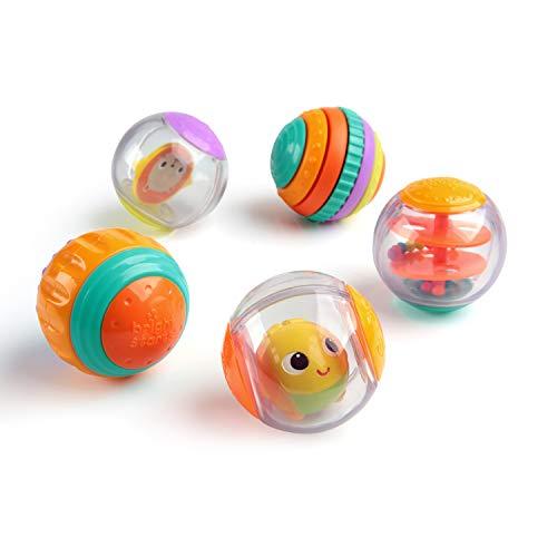 Bright Starts, Shake & Spin 5 leicht greifbare Spielbälle die rasseln, kreiseln, klicken und vieles mehr, ab 6 Monaten
