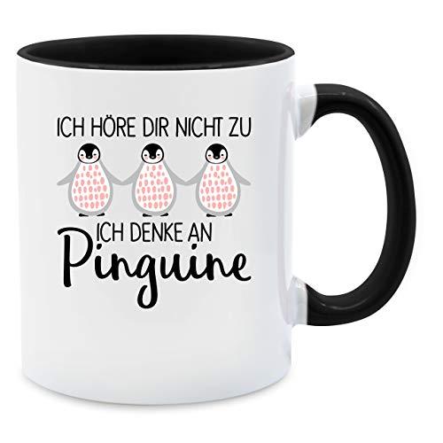 Tasse mit Spruch - Ich denke an Pinguine - Unisize - Schwarz - pinguine tasse - Q9061 - Kaffee-Tasse inkl. Geschenk-Verpackung