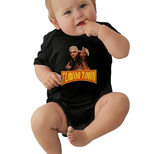 Newborn Baby Jersey Bodysuit, Baby Short Sleeve One-Piece Bodysuits American Restaurateur Guy Fieri - Flavortown Baby Onesies Bodysuits, Infant Romper Suit Cotton T Shirts 6 Months
