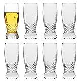 Pilsner Glasses,QAPPDA 8 oz Beer Glasses Set,Tall Glasses Craft Beer Glasses,Drinking Cup Beer Cup s Pint Glass,IPA Beer Glassware Cup 260ML,Cocktail Glass Dishware Safe 8 Pack