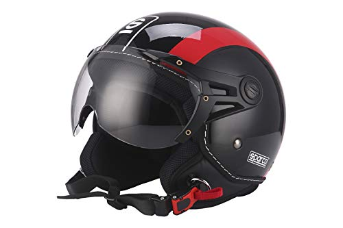 Sparco Riders 5106 Sparco Riders Casco Moto Demi Jet, Nero/Rosso, Taglia L