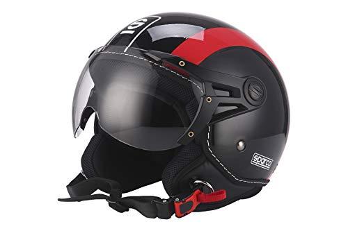 Sparco Riders Demi Jet 93461NGR Casco Moto, Nero/Rosso, M