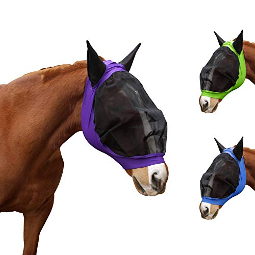 Derby Originals UV-Blocker Extra Comfort Soft Mesh Lycra Horse Fly Mask with Ears and Colors