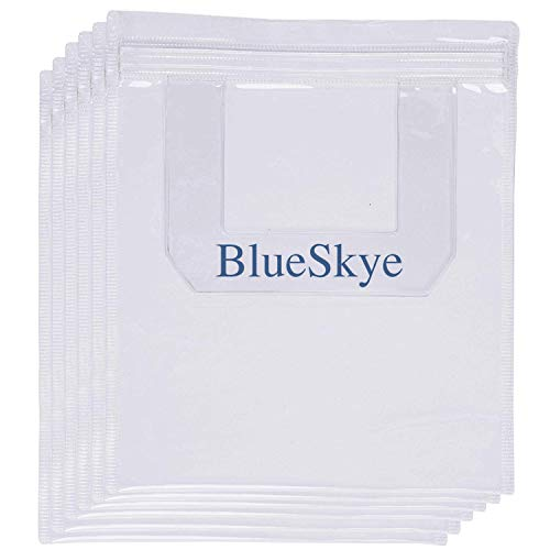 6 x Airport Security Liquids Bag Reusable Clear for Travel Hand Luggage - Airport Approved, Resealable 20cmx20cm - by Blueskye