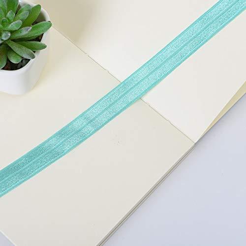 KUQIQI 10yards Solid Color Günstige Shiny Falten Elastic FOE Spandex-Band-Kind-Haar-Bindung Stirnband-Kleid mit Spitzenbesatz Nähen 5/8