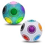 Coolzon Magic Rainbow Ball, 2 Pezzi Magic Arcobaleno Ball Palla Magica 3D Palle di Fidget Giocattolo Educativo per Bambini Adulti, Blu + Bianco