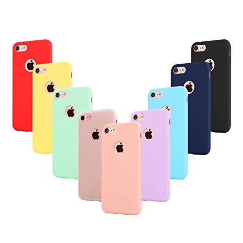 Leathlux 9 Cover Compatibile con iPhone 7 4.7 Pollici Silicone Custodia, Sottile Morbido TPU Gel Protettivo Cover, Rosa, Verde, Porpora, Azzurro, Giallo, Rosso, Blu Scuro, Traslucido, Nero