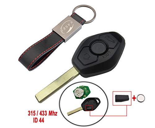 Chiave Telecomando con Scheda Elettronica 2 Tasti per BMW Serie 1 2 3 E38 E39 E46 (ID44 315/433 Mhz Chip PCF7935) Transponder con Portachiavi KASER