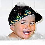 AquaVisor Baby Bath Visor, Safe & Soft Neoprene, Bathing & Shampoo Shower Cap for Baby & Toddler, Fresh Cute Prints - Perfect Baby Shower Gift (Patent Pending) (Dino Party)