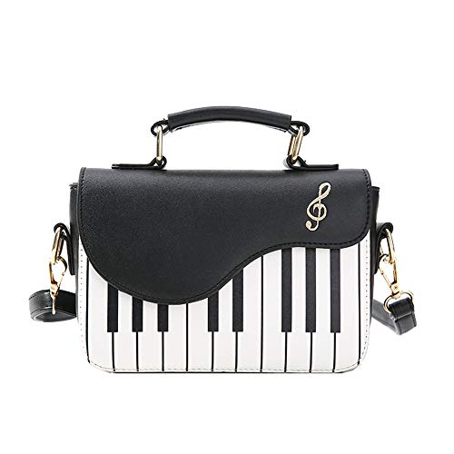 WILDFINDING Piano Music Notes PU Leather Shoulder Tote Bag Purse Crossbody Handbag for Women Girls (Black), 14cm