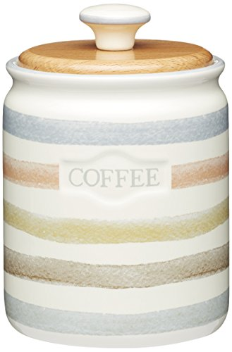 Kitchen Craft Kaffeebüchse klassisch 800ml mit Buchenholzdeckel, Keramik, Mehrfarbig, 25 x 25 cm