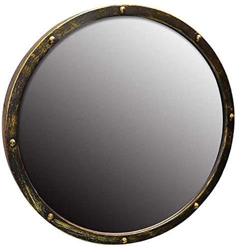 Chenbz Miroir Miroir Miroir Vintage Miroir mural avec métal encadré, clarté haute définition ronde miroir de salle de bain