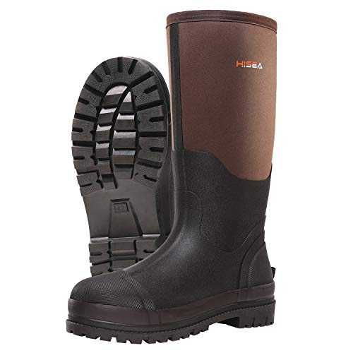 Hisea Men's Work Boots Neoprene Rubber Rain Boots Muck Mud Boots Insulated Outsole Brown