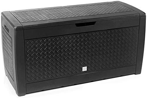 rg-vertrieb Gartenbox Auflagenbox 310L Flechtoptik Truhe Box Gartentruhe Boarde Kissenbox Gartenkasten (Braun)