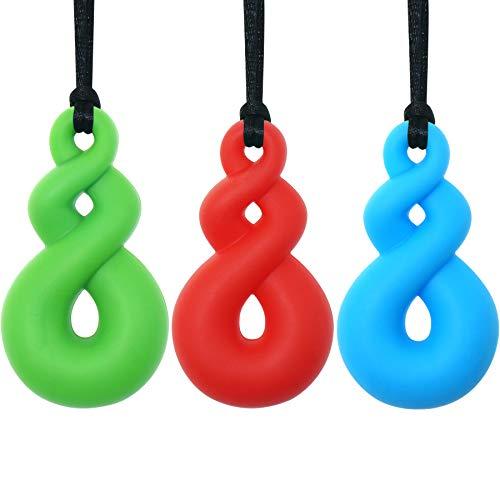 Collar de masticación sensorial para niños y niñas (paquete de 3) - Panny & Mody Maori Twist Colgante masticable collares de dentición para niños TDAH autismo autista