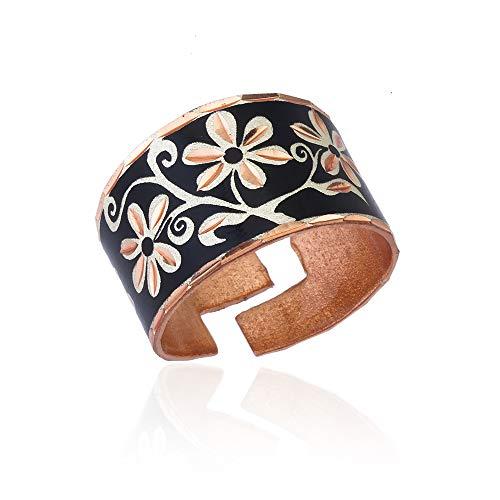 Anillos de flores para mujeres niñas con fondos coloridos, joyería de flores - anillos de cobre hechos a mano ajustables