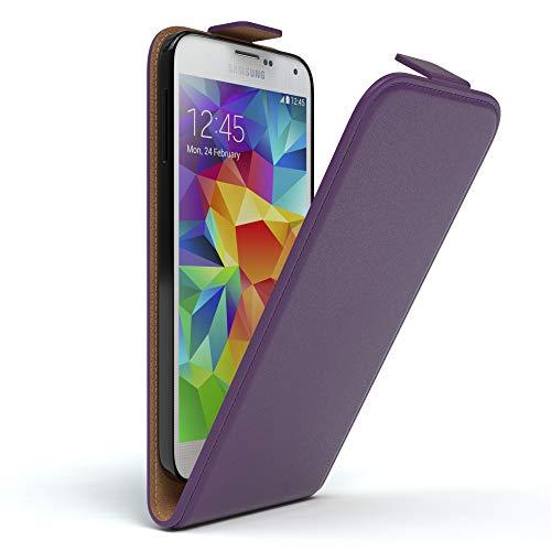 EAZY CASE Hülle kompatibel mit Samsung Galaxy S5/LTE+/Duos/Neo Hülle Flip Cover zum Aufklappen, Handyhülle aufklappbar, Schutzhülle, Flipcase, Flipstyle Hülle vertikal klappbar, Kunstleder, Lila