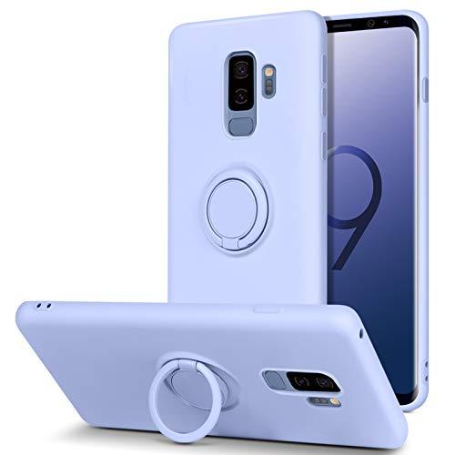 BENTOBEN Coque Samsung S9 Plus,Etui Housse Silicone Liquide Doublure en Microfibre Douce Ultra-Mince TPU Flexible Souple Support Rond Couverture de Protection Coque pour Samsung S9 Plus - Violet
