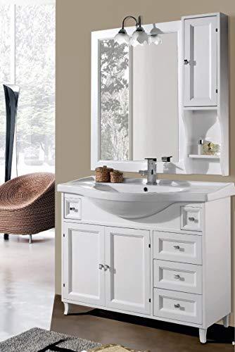 Mobile sottolavabo con lavabo e specchio Ilaria 105 cm Per Arredo Bagno Bianco classico