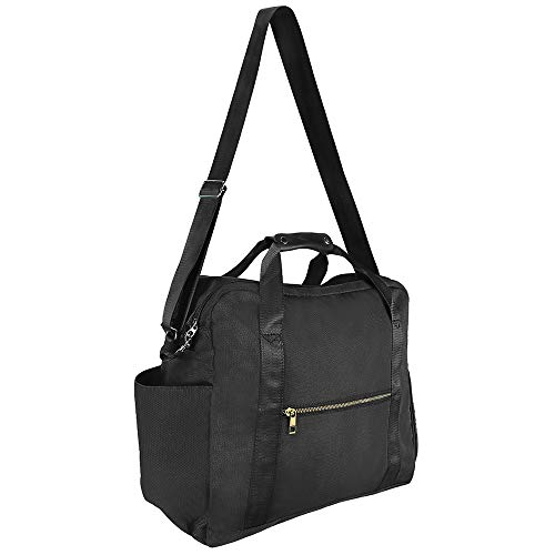 WOTOW Travel Duffel Bags, Durable Water Resistant Travel Tote with Shoe Compartment RFID Blocking Pouch, Carry on Luggage Bag Weekender Overnight Garment Sports Gym Bag (43L, Black)