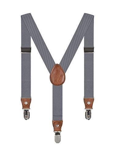Baby Kinder Hosenträger Einfarbig Gürtel Elastisch Leder 3 Clips Jungen Mädchen Hosen Röcke Tutu Shorts Bequem Träger - Grau