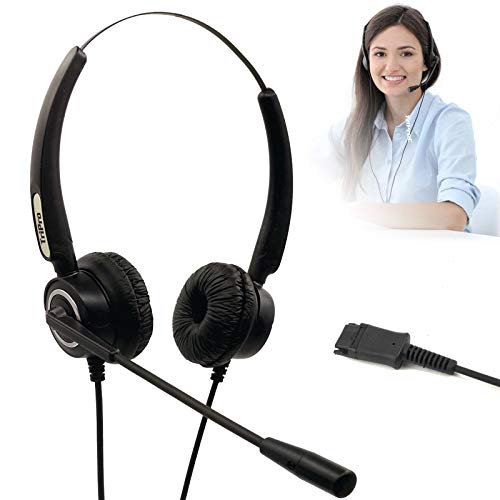 TriPro QD (Quick Disconnect) Binaural Corded Telephone Headset Compatible with Plantronics QD Interface for Landline Deskphone (Binaural QD Headset)