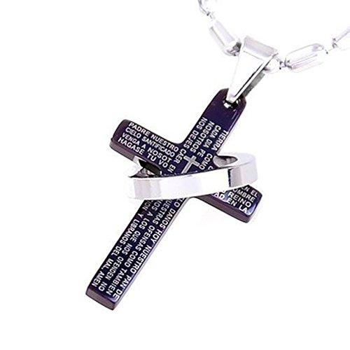 DonDon Collar con Colgante Cruz de Color Negro y Anillo de Acero Inoxidable en Bolsa de Terciopelo de Color Negro