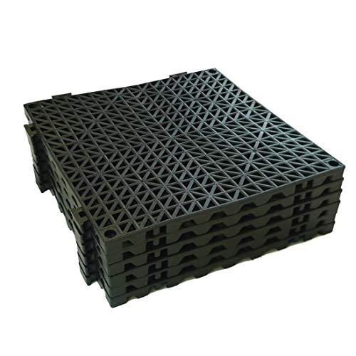 "VinTile Modular Interlocking Cushion Floor Tile Mat Non-Slip with Drainage Holes for Pool Shower Locker-Room Sauna Bathroom Deck Patio Garage Wet Area Matting (Pack of 6 Tiles - 11.5"" x 11.5"", Black)"