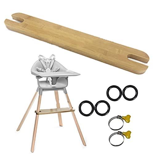 Reposapiés para Tronas de Bebe, Reposapiés Bambú Adapta Reposapiés Ajustable Bambú Natural para Trona con Anillos Goma Antideslizantes Compatible con los Accesorios para Trona Bebé IKEA