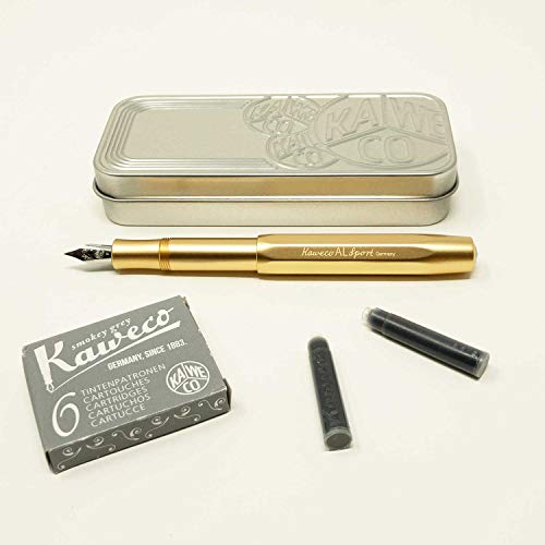 Kaweco Al SPORT Füllfederhalter Gold Edition | Füllhalter achteckig mit Feder M | Kaweco Set mit 6 grauen Füller Tintenpatronen GRATIS