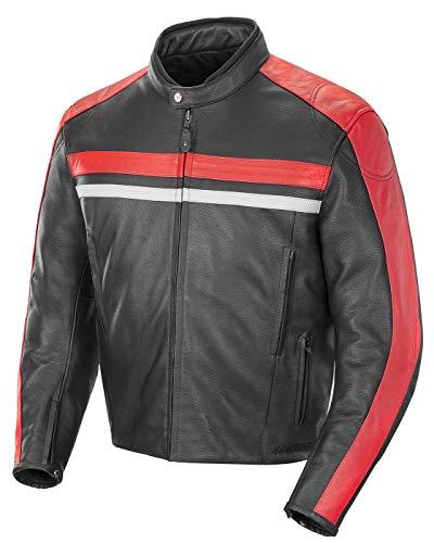 Joe Rocket Men's Old School Leather Jacket (Black/Red, X-Large)