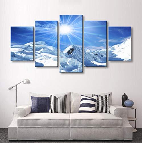 Cuadros en Lienzo Sol Montaña Nevada - Impresiones de la Lona - Pintura Poster Pared Fotos para Dormitorios Decoración - Moderna Canvas Wall Art - Listo para Colgar, 5 Piezas, 150x80cm, Enmarcado