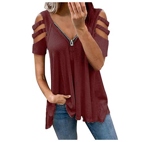 2021 Nuevo Camiseta Mujer Verano Moda Color sólido Manga Corta Elegante Blusa Camisa Cuello Redondo Cremallera Camiseta Suelto Tops Casual Fiesta T-Shirt Original tee