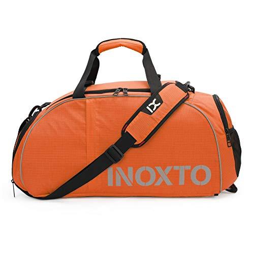 HHH Bolsa de Viaje Bolsa de Gimnasio con Compartimento para Zapatos y Bolsillos de Almacenamiento Secos y Húmedos Bolsos Cruzados Bolsa de Viaje Mochila de Alta Capacidad,Orange